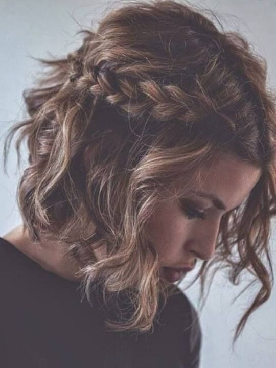Short-Wavy-Hairstyle-With-Braided-Bangs Glamorous Wavy Hairstyles