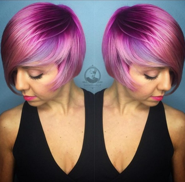 Trendy-Short-Purple-Hairstyle Beautiful Short Hairstyles for Round Faces 2019