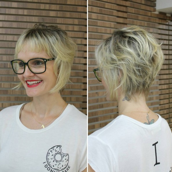 Wavy-Bob-Hairstyle-with-Bangs Chic Short Hairstyles for Women 2019