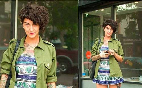 Asymmetrical-Long-Pixie-Curly-Hairstyle Short Curly Pixie Haircuts