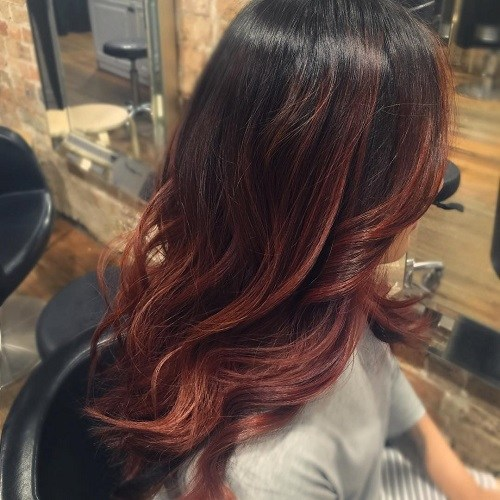 Balayage-Curls Trendy Mahogany Hair Color Ideas
