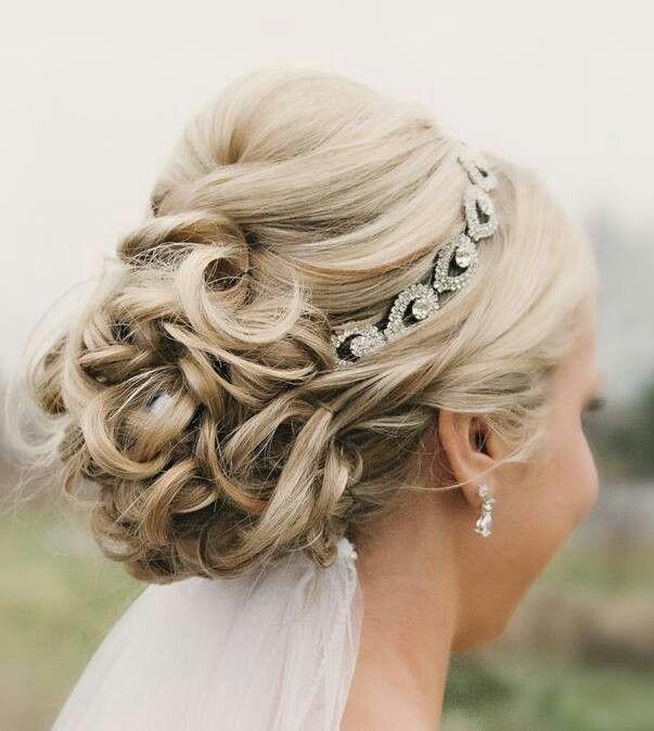 Beautiful-Wedding-Updo-With-Crystal-Headband-and-Veil Glamorous Wedding Updos for 2019