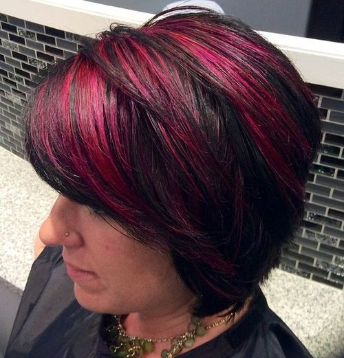Black-and-Red-Hairstyle Awsome Highlighted Hairstyles for Women – Hair Color Ideas