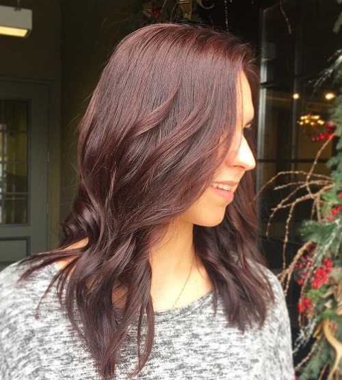 Brunette-Waves Trendy Mahogany Hair Color Ideas