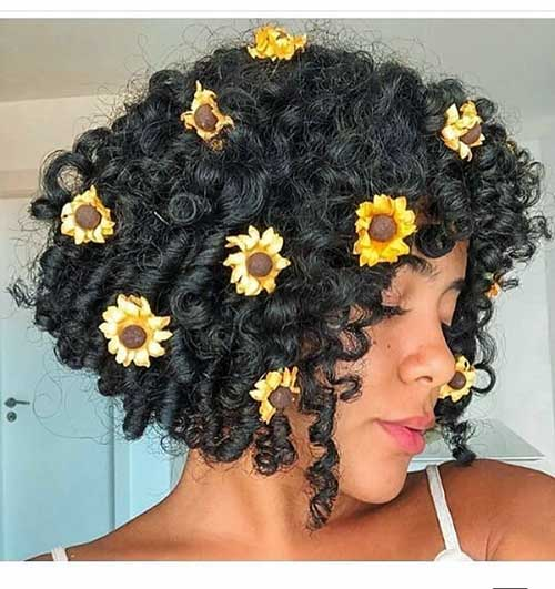 Curly-Hair Cute Short Black Haircut Ideas