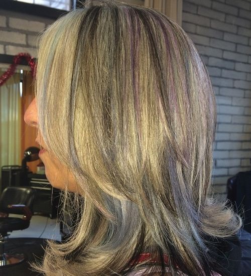 Grey-Hair-with-Purple-Highlights Awsome Highlighted Hairstyles for Women – Hair Color Ideas