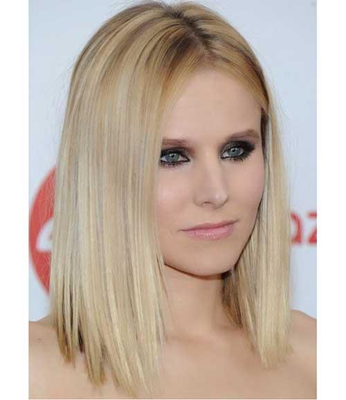 Kristen-Bell-Straight-Hair Short Thin Hairstyles to Easily be Feminine