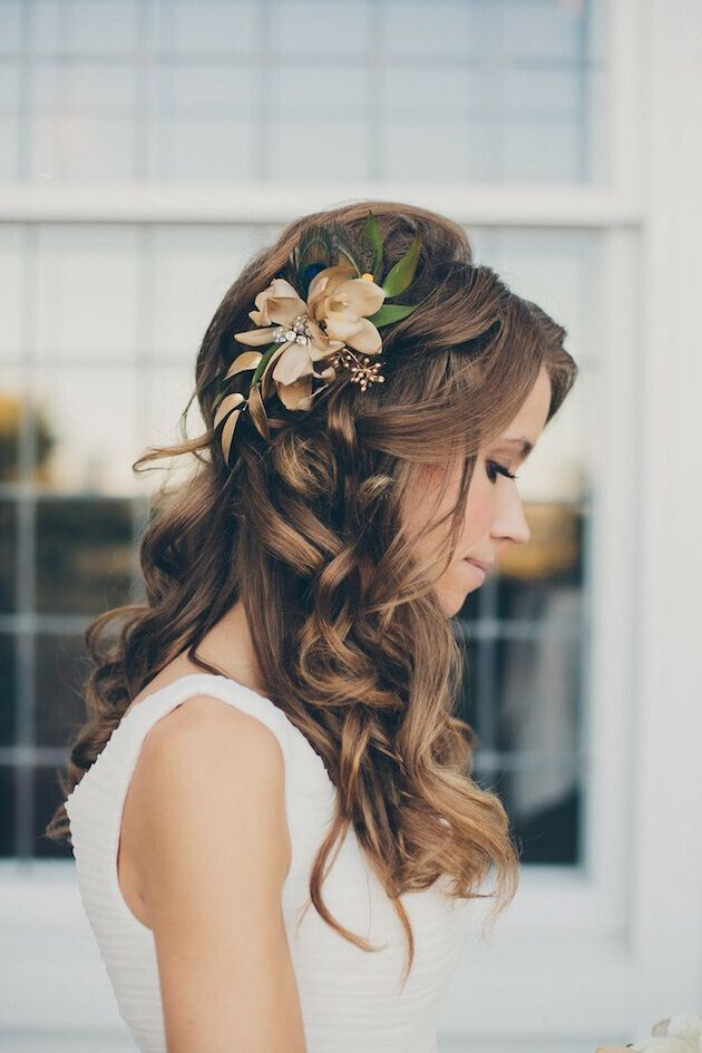 Long-Curly-Hair-for-Wedding-Hairstyles Super Charming Wedding Hairstyles for 2019