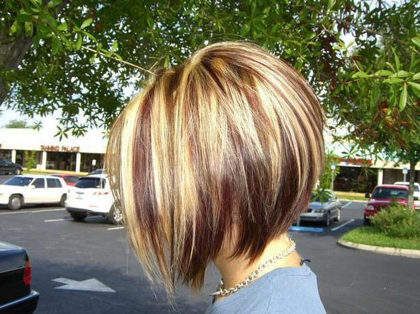 Red-Blonde-and-Brown-Highlights-with-an-Inverted-Bob-cut Chic Short Cuts You Should Not Miss - Short Hair Trends for 2019