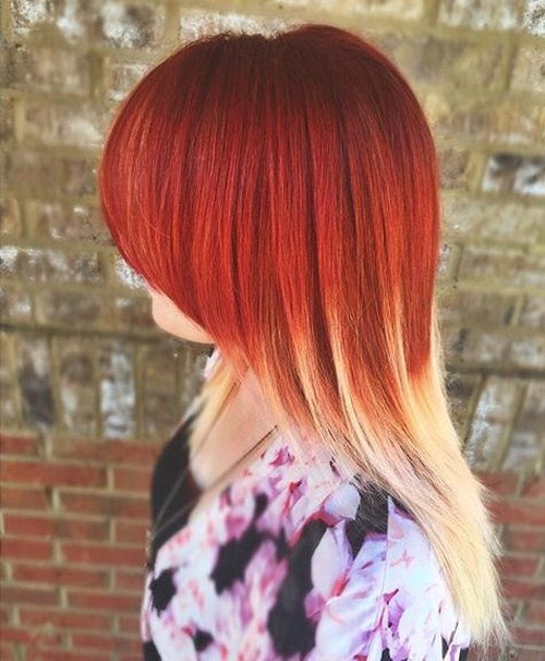 Red-and-Blonde-Ombre New Hairstyles and Hair Color Ideas for Fall
