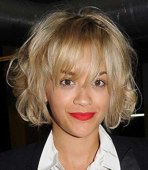 Short-Blonde-Curly-Messy-Bob Messy Hairstyles for Short Hair