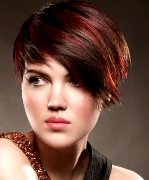 Short-brown-hair-with-red-highlights Best Short Hair Color Trends 2019