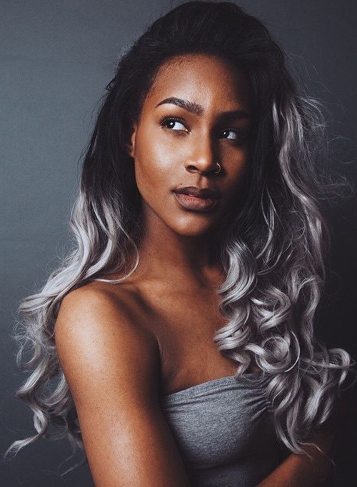 Silver-Ombre-Curls-with-Black-Hair Gorgeous Ways to Rock Blonde and Sliver Hair