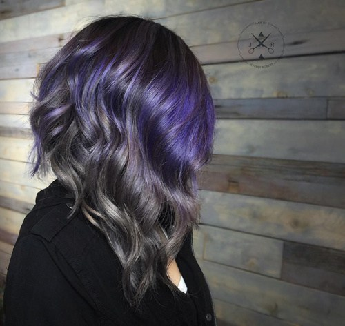 Silver-and-Purple-Graduated-Bob Gorgeous Ways to Rock Blonde and Sliver Hair