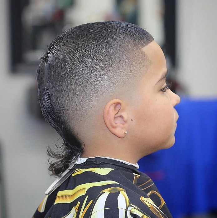 Bald-Cut-with-a-Curly-Tail-for-Boys Stylish and Trendy Boys Haircuts 2019