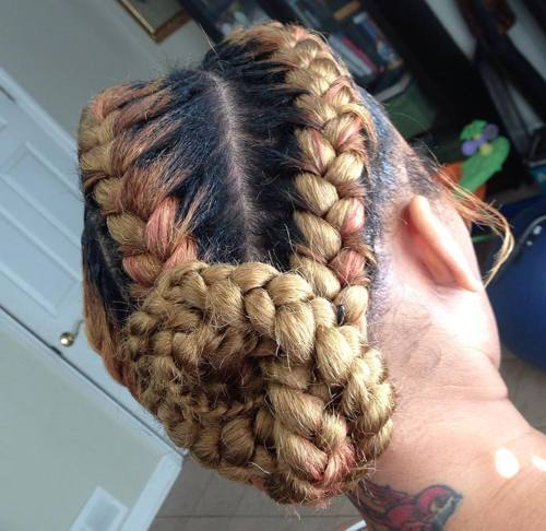 Blonde-and-Pink Best Goddess Braids for Women – Goddess Braids Ideas
