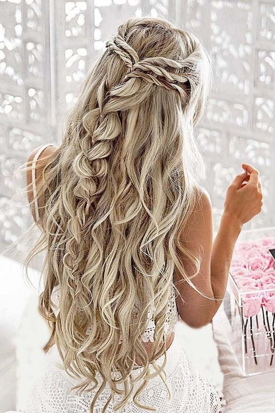 Braided-Half-up-Half-down Wedding Hair Ideas for Spring