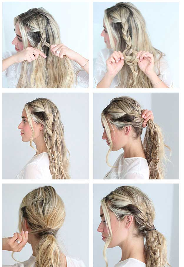 Braided-Messy-Ponytail Cool and Cute Summer Hairstyles for Women