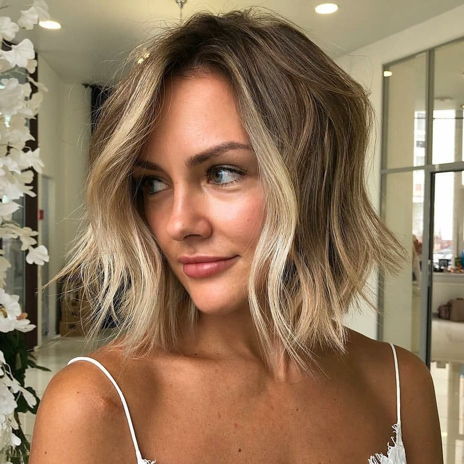 Choppy-Blonde-Lob Cute Bob Haircuts for Women to Look Charming