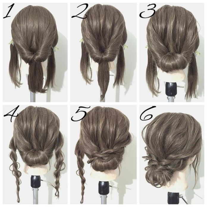Croissants-and-Buns Simple Medium Hairstyles for Stunning Look