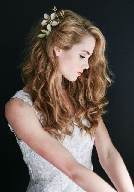 Curly-Long-Hair-with-Hair-Clips Wedding Hair Ideas for Spring
