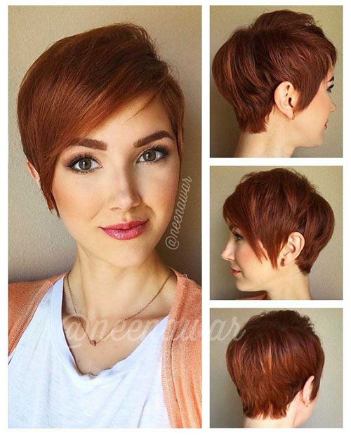 Dark-Red-Hair-Color Latest Edgy Pixie Haircuts