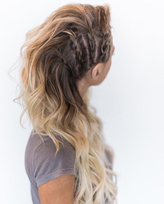 Faux-hawk-Inspired-Braided-Long-Hair Adorable Hairstyles for Long Hair