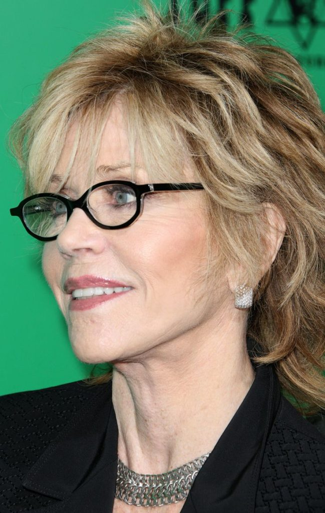 Layered-Shaggy-Bob-Haircuts Hairstyles for Women Over 50 With Glasses