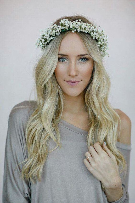 Long-Hair-with-Flower-Crown Wedding Hair Ideas for Spring