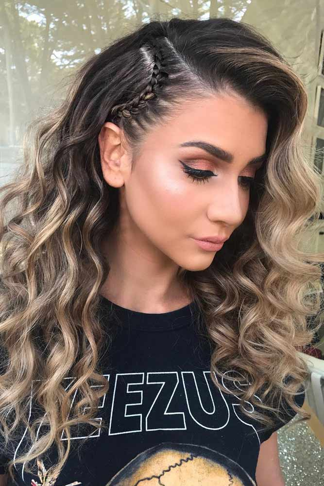 Mini-Braid-with-Beach-Waves Cool and Cute Summer Hairstyles for Women