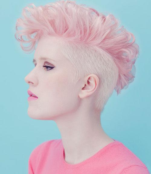 Pink-faux-hawk-haircut Best Short Hair Colors