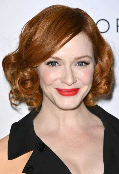 Rachel-McAdams's-Copper-Curly-Short-Hair Celebrity Short Curly Hairstyles