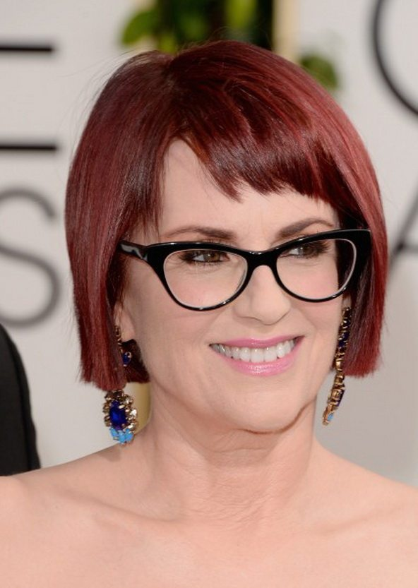 Short-Bob-With-Blunt-Bangs Hairstyles for Women Over 50 With Glasses
