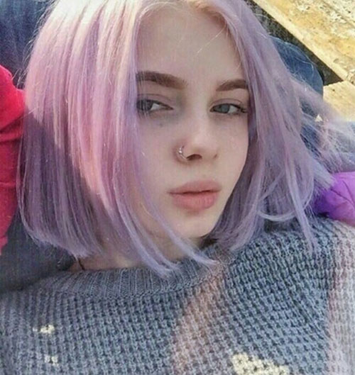 Short-Pastel-Violet-Hair Best Short Hair Color Ideas and Trends for Girls