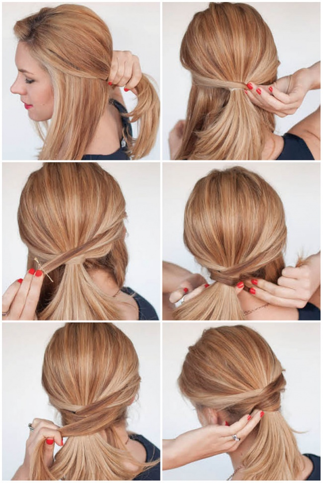 Simple-Criss-Cross-Ponytail Top Trending Medium Hairstyles for Girls