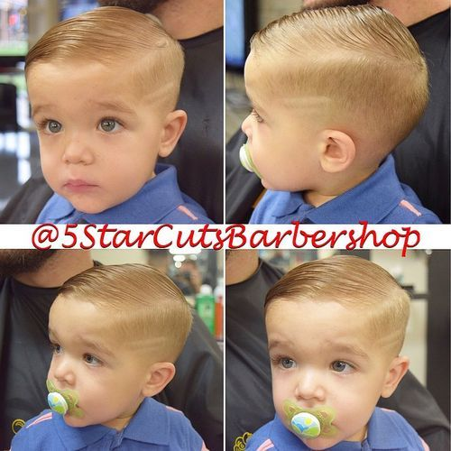 Slicked-Down-with-Shaved-Lines Really Cute Haircuts for Your Baby Boy