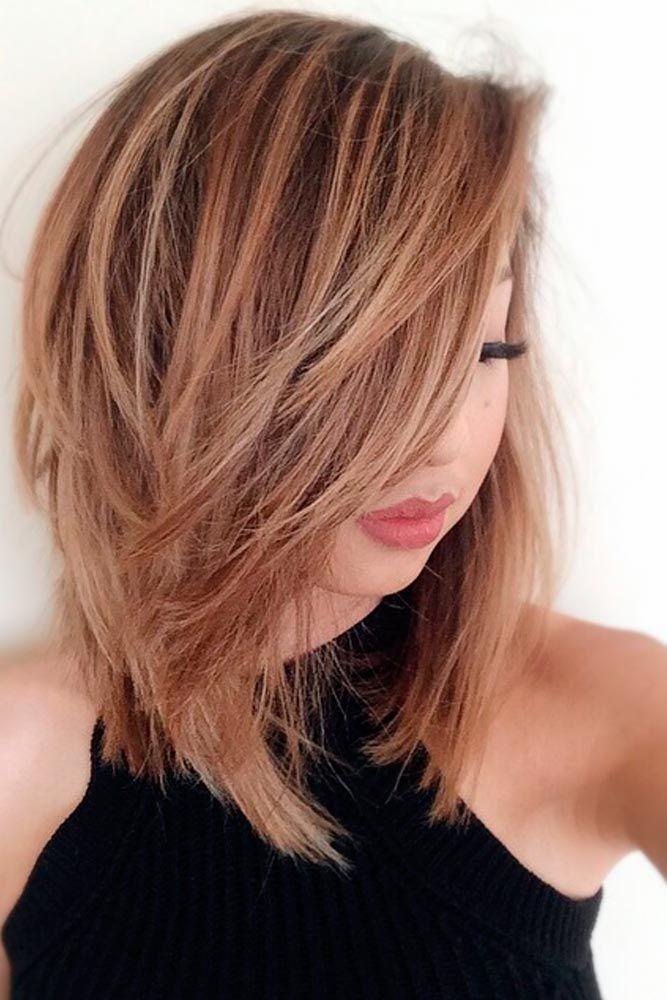 Tear-Drop-Layered-Fringe Top Trending Medium Hairstyles for Girls