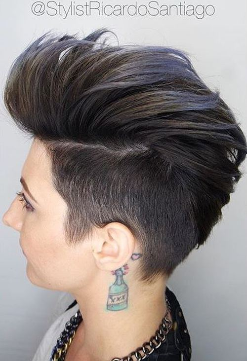 The-Pompadour Faux Hawk Hairstyle for Women – Trendy Female Fauxhawk Hair Ideas