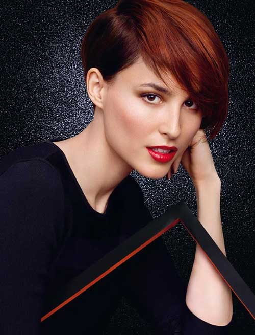 Trendy-Red-Long-Pixie-Hairstyle Short Hairstyles 2019 Trends