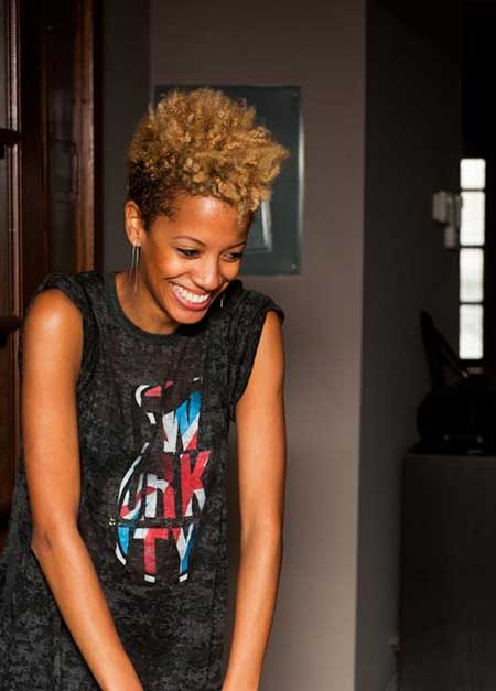 Tri-Colored-Shorter-Sides-and-Curly-Towering-Front Super Short Haircuts for Black Women