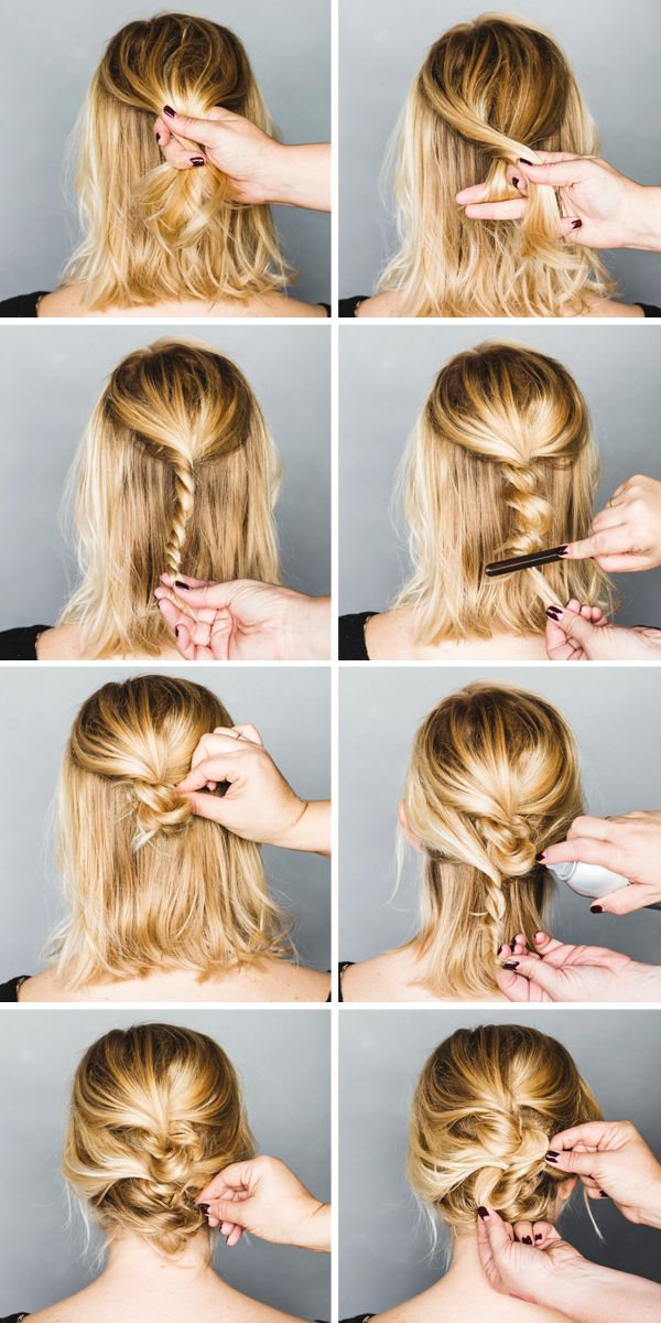 Triple-Layered-Bun Simple Medium Hairstyles for Stunning Look