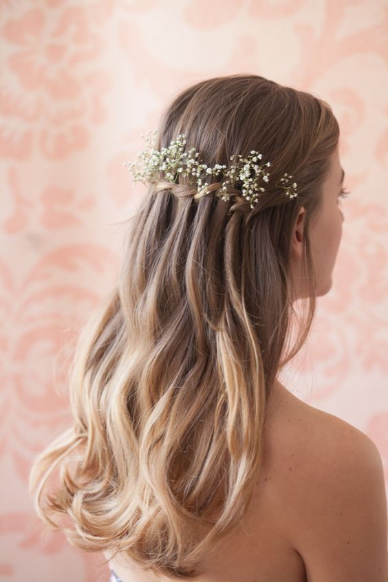 Waterfall-Hair-with-Flowers Adorable Hairstyles for Long Hair