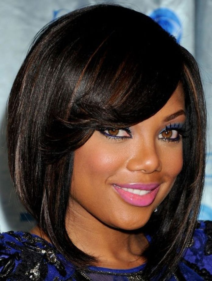 Angular-Bang-Sleek-Hairstyle Best African American Hairstyles with Color