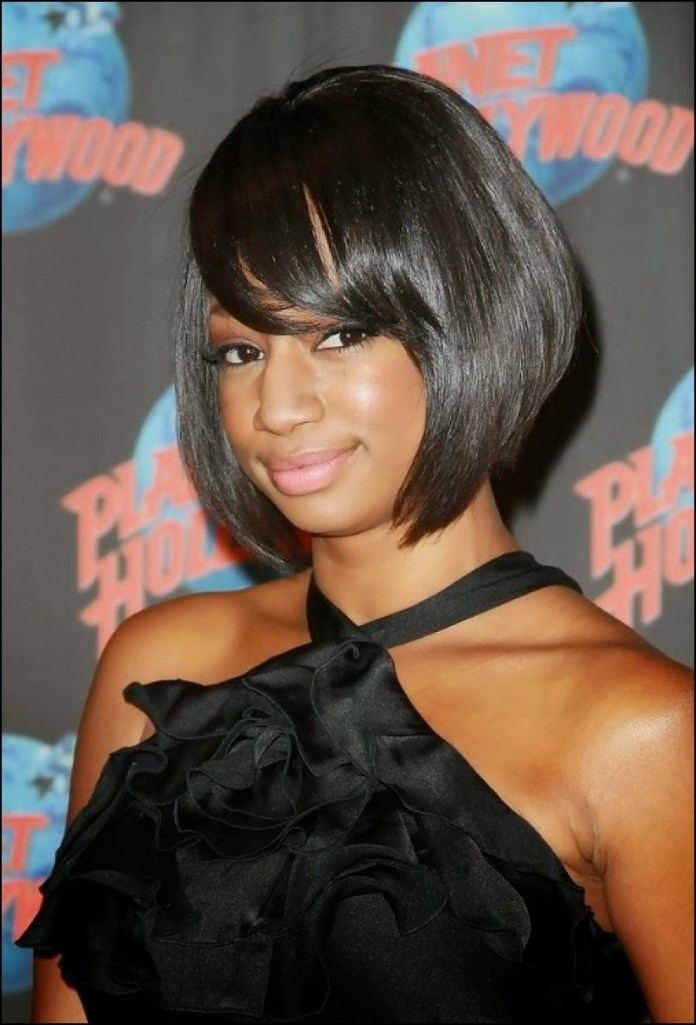 Asymmetric-Bob-with-Side-Parting Exclusive African American Bob Hairstyles
