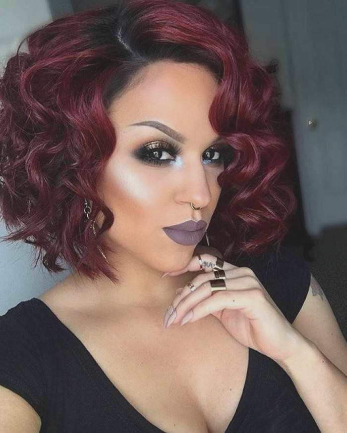 Blowout-Burgundy-Hairstyle-with-Zigzag-Curls Most Stylish Prom Hairstyles for Black Girls
