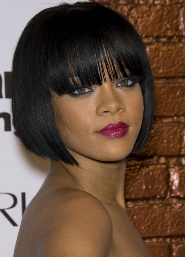 Blunt-Cut-with-Fringes Exclusive African American Bob Hairstyles