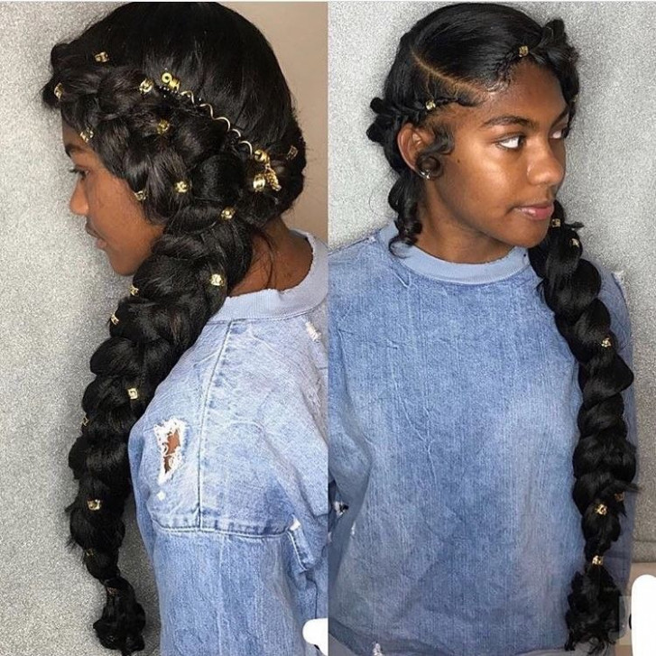 Both-Side-Braided-Hairdo-Accessorized-with-Golden-Beads Most Stylish Prom Hairstyles for Black Girls