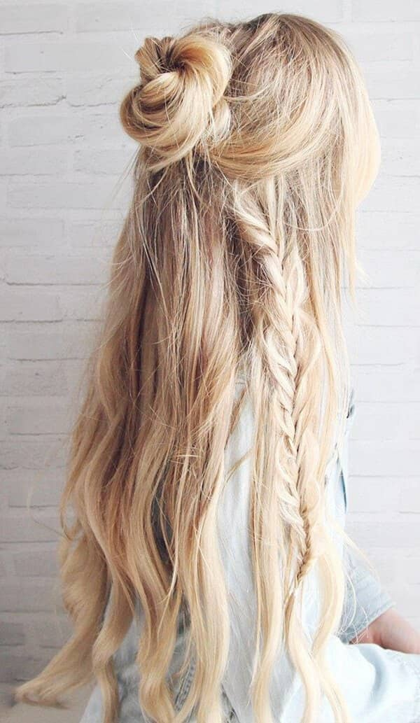 Braid-with-Flower-Bun Most Adorable Long Hairstyles with Braids