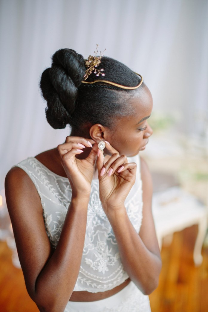 Braided-Bun-with-Crown-Hairstyle Most Beautiful Natural Hairstyles for Wedding