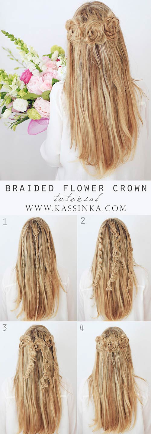 Braided-Flower-Crown Awesome Hairstyles For Girls With Long Hair